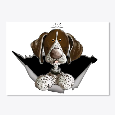 Little German Pointer   Cartoon   Gift  White T-Shirt Front