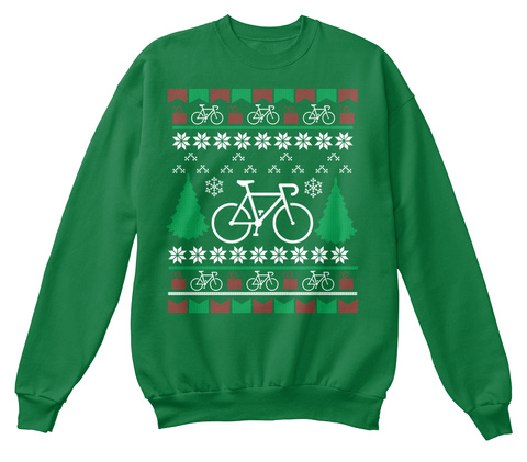 Bicycle Ugly Christmas Sweater Kelly Green  T-Shirt Front