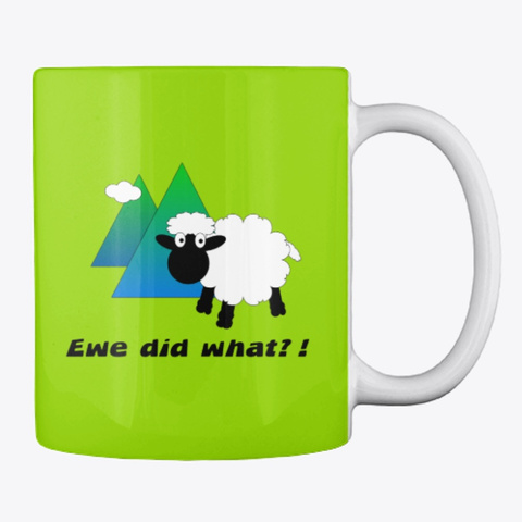 Funny Sheep Lime Green T-Shirt Back