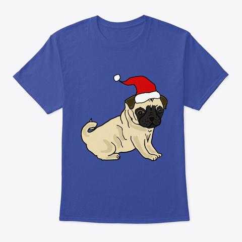 Cute Pug Puppy Dog  Santa  Christmas Deep Royal T-Shirt Front