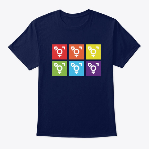 Rainbow Trans Pride   Casey Blake Navy T-Shirt Front