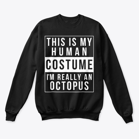 Octopus Halloween Costume Shirt Black T-Shirt Front