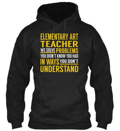 Elementary Art Teacher Black T-Shirt Front