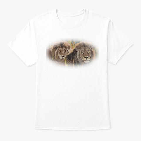 Afrigraphix   Lions At Sunset   White White T-Shirt Front