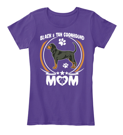 Black And Tan Coonhound Mom T Shirt Mama Purple T-Shirt Front