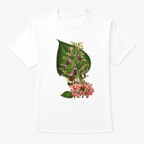 Botanical Vintage Flower White T-Shirt Front