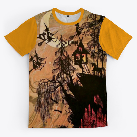 Awesome Witch Shirt For Halloween Day Orange T-Shirt Front