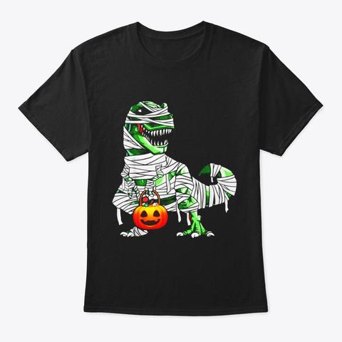 Halloween Pumpkin Dinosaur T Shirt Gift Black T-Shirt Front
