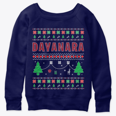 Xmas Themed Personalized For Dayanara Navy  T-Shirt Front