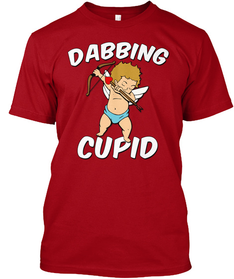 Awesome Dabbing Cupid With Heart Arrow  Deep Red T-Shirt Front