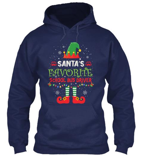 Santa's Favorite School Bus Driver Navy T-Shirt Front