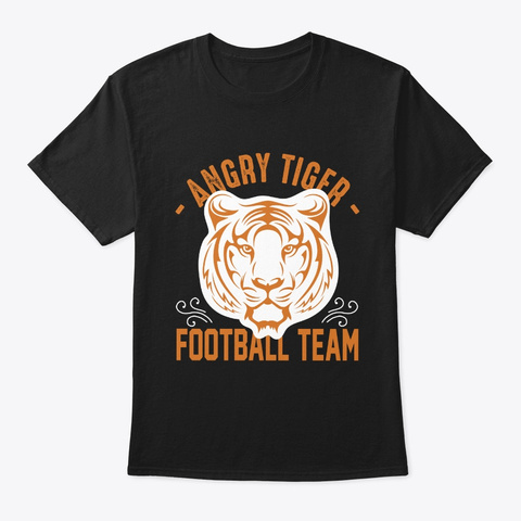 Angry Tiger American Football Team Black T-Shirt Front
