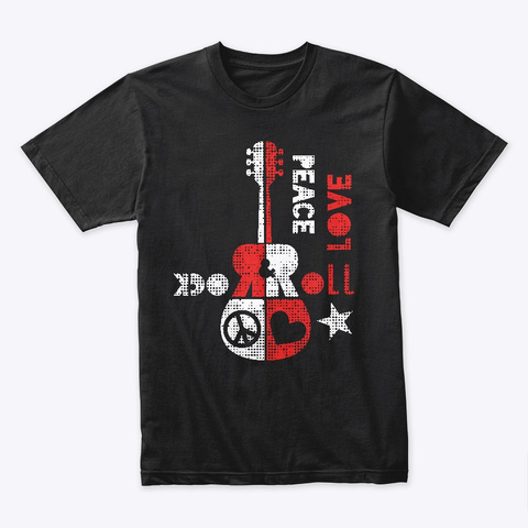 Peace, Love And Rock And Roll Black T-Shirt Front