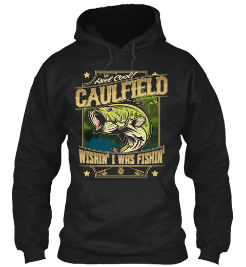 Caulfield Fishing Gift Black T-Shirt Front