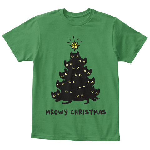 Meowy Christmas Kelly Green  T-Shirt Front