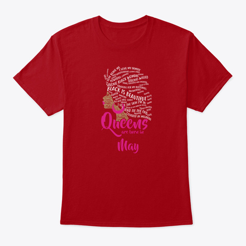 Queens Are Born In May Birthday Ls Shir Deep Red T-Shirt Front