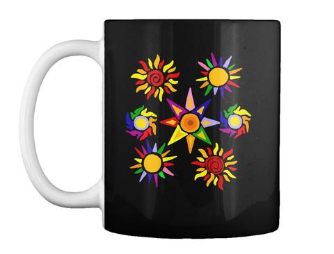 Striking Colorful Sun Art Mug Black T-Shirt Front