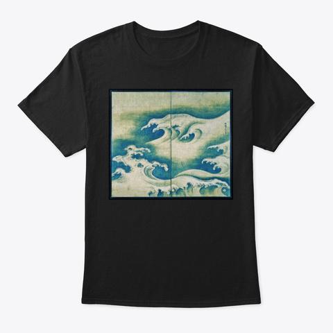 Ocean Sea Wave   Japan  Black T-Shirt Front