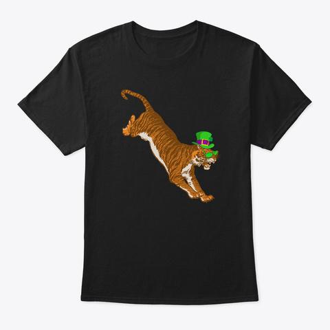 St Patricks Day Tiger, Irish Big Cat Black T-Shirt Front