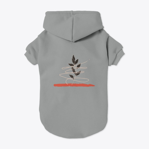 Leaves Art Grey T-Shirt Back