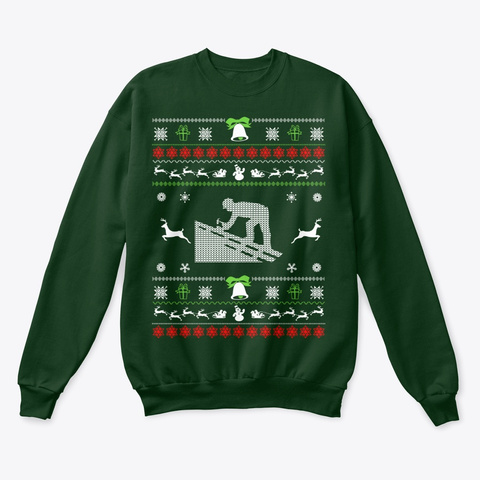 Roofer Ugly Christmas Sweater Deep Forest  T-Shirt Front