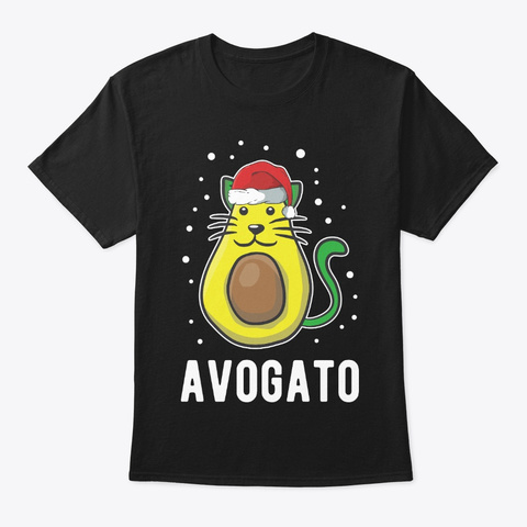 Cats Santa Cat Avocado Lover Avogato Black T-Shirt Front