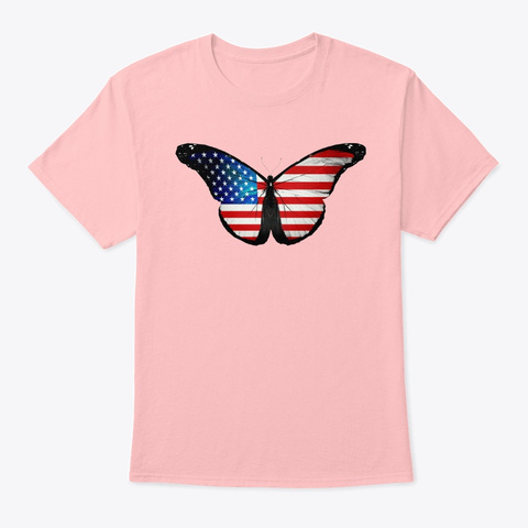American Flag Butterfly Mercandise Pale Pink T-Shirt Front