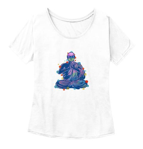 Women's Meditating Buddha Shirt White  Camiseta Front
