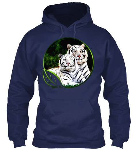 Green Life White Tigers Navy T-Shirt Front
