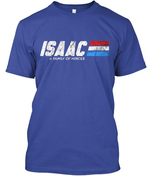 Isaac: A Family Of Heroes Deep Royal T-Shirt Front