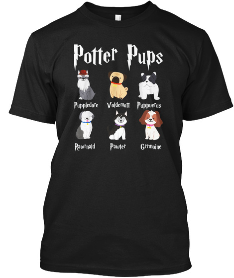 Harry Pawter Cute Puppy Dogs Potter Pups Black T-Shirt Front