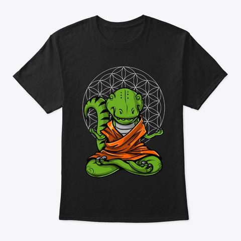 T Rex Dinosaur Buddha Black T-Shirt Front