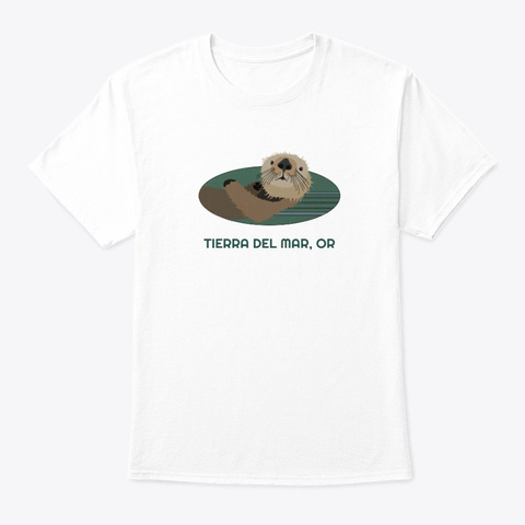 Tierra Del Mar Or Otter Pnw Tribal White T-Shirt Front