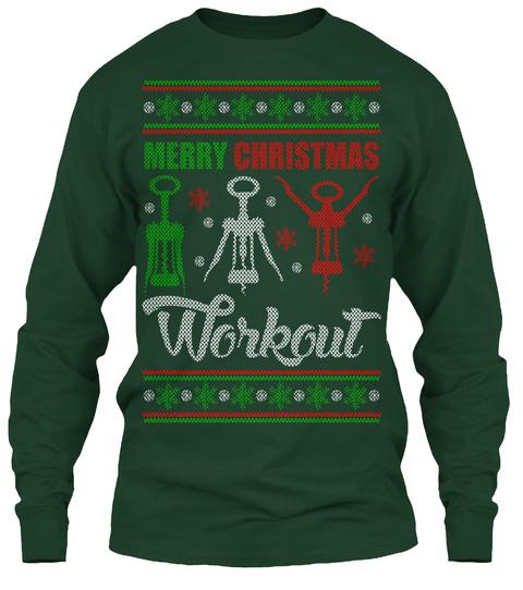 Wine Christmas Sweater.Wine Workout Ugly Christmas Sweater Style Printed Tee