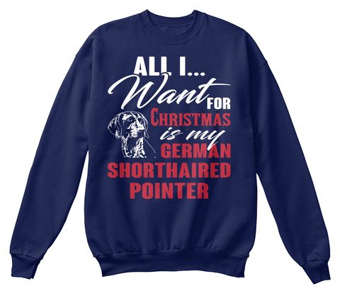 German Shorthaired Pointer Ugly Christma Navy  T-Shirt Front