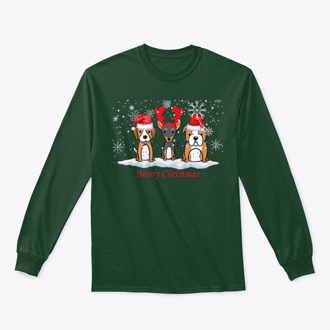 Merry Christmas Funny Dog Lover Christ Forest Green T-Shirt Front