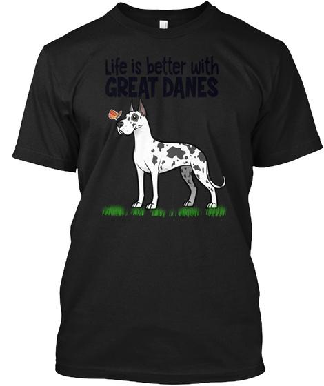 Great Danes Black T-Shirt Front