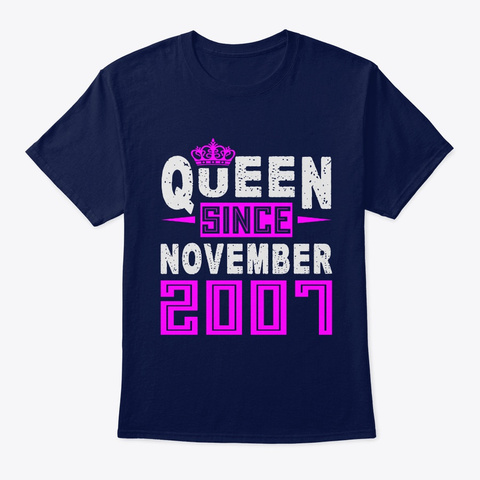 Queen Since November 2007 Birthday Gift Navy T-Shirt Front