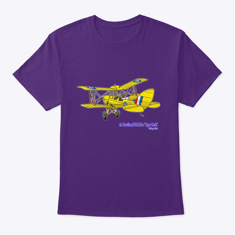 De Havilland Dh.82 Cartoon Purple T-Shirt Front