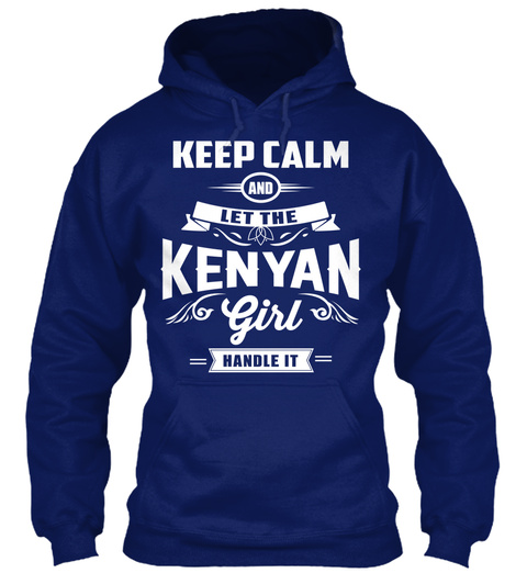 Keep Calm And Let The Kenyan Girl Handle It Oxford Navy T-Shirt Front