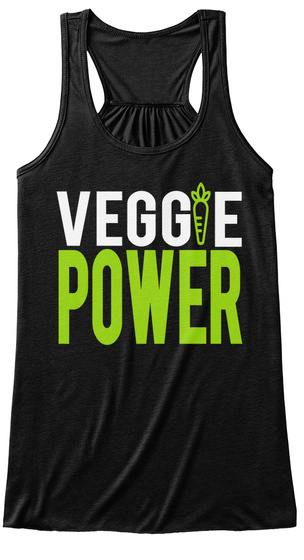 Veggie Power Black T-Shirt Front