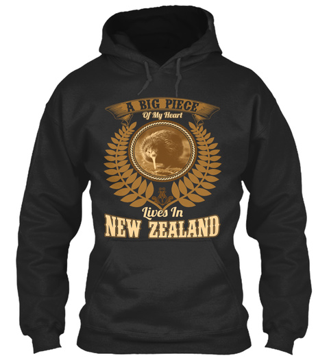 A Big Piece Of My Heart Lives In New Zealand Jet Black T-Shirt Front