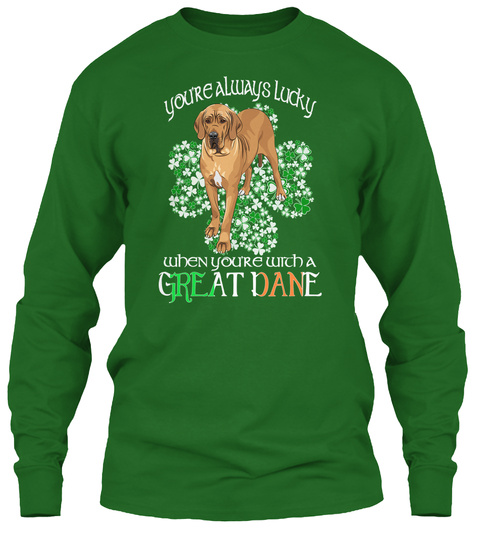 Saint Patrick With A Great Dane Irish Green T-Shirt Front