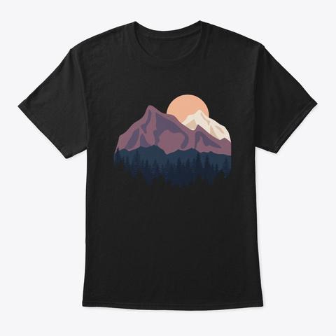 Mountains Hiking Funny Nature Landscap Black T-Shirt Front
