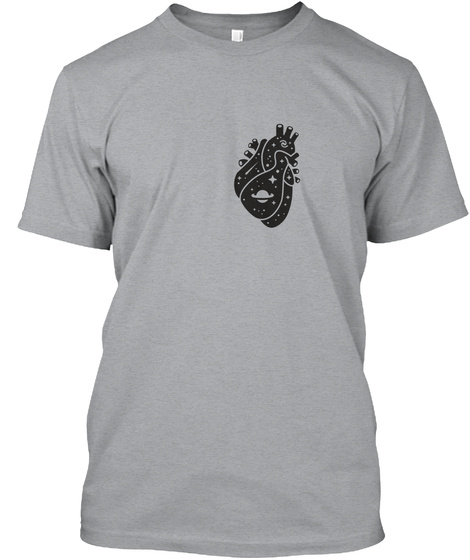 Space Heart 2 [Usa] #Sfsf Heather Grey T-Shirt Front