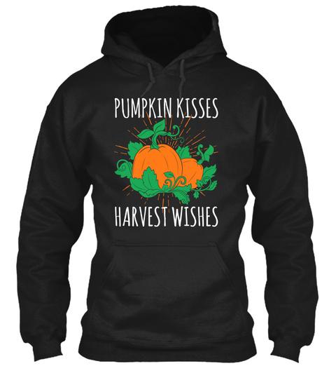Pumpkin Kisses Harvest Wishes Black T-Shirt Front