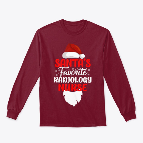 Santa's Favorite Radiology Nurse Gift Cardinal Red T-Shirt Front