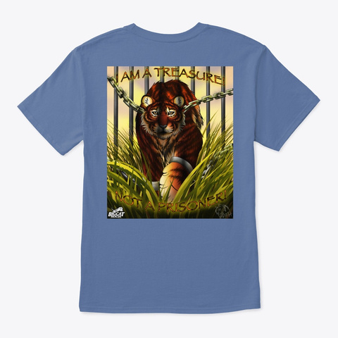 Tiger Treasure Denim Blue T-Shirt Back