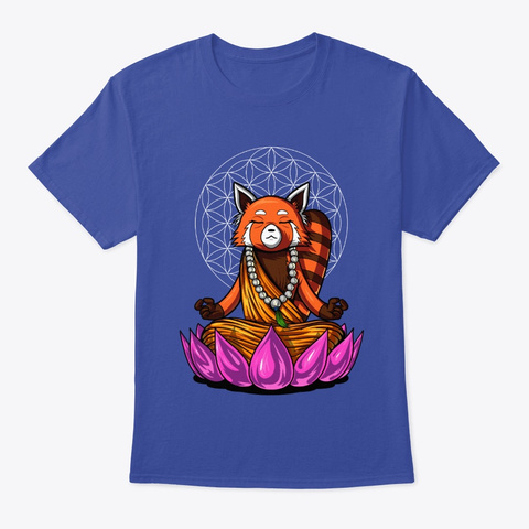 Red Panda Bear Buddha Deep Royal T-Shirt Front