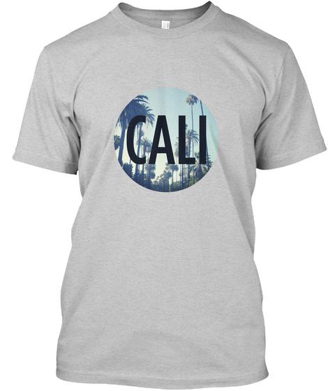 Cali Palm Tree Light Steel T-Shirt Front